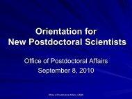New Postdoc Orientation - The Graduate School of Biomedical ...
