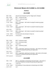 Agenda Workshop Munich 20th till 22nd October 2008 - Brahmatwinn