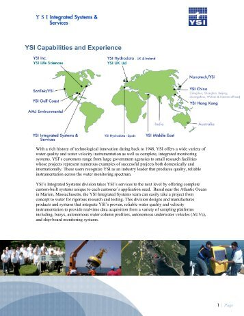 YSI Capabilities and Experience - YSI Integrated Systems