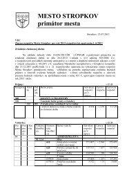 Zmena rozpočtu Mesta Stropkov pre rok rok 2013 ... - Mesto Stropkov