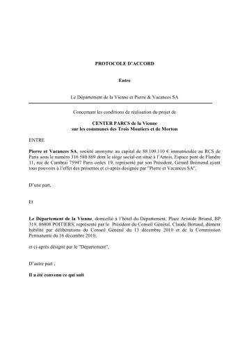 Protocole d'accord sur le projet Center Parcs dans la Vienne