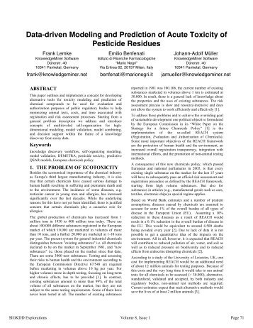 Data-driven Modeling and Prediction of Acute Toxicity of Pesticide ...