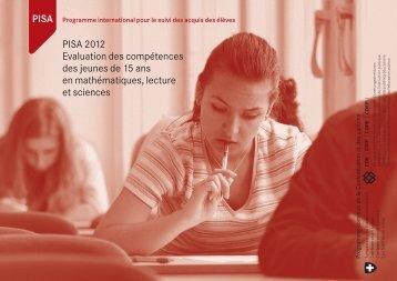 PISA 2012 Evaluation des compétences des jeunes de 15 ans en ...