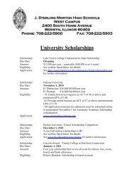 University Scholarships - J. Sterling Morton High School District 201