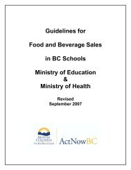 Guidelines for Food and Beverage Sales in BC ... - DiscoverySpace