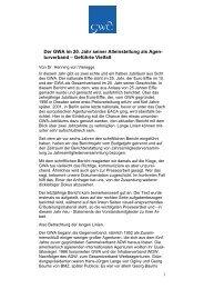 Der GWA im 20. Jahr seiner Alleinstellung als Agen - Henning von ...