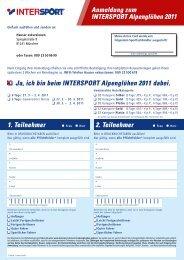 Anmeldung zum INTERSPORT Alpenglühen 2011 Ja, ich bin beim ...