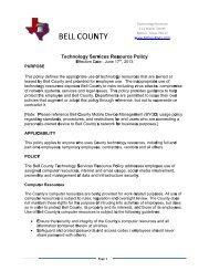 Technology Resources Usage Policy - Bell County Home Page