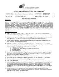 senior machinist- infrastructure technician position description