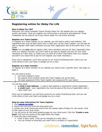 Canadian Cancer Society Relay For Life: Team Captain's Log sheet