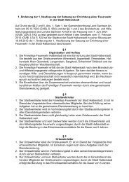 Satzung zur Errichtung einer Feuerwehr in der Stadt - Halberstadt