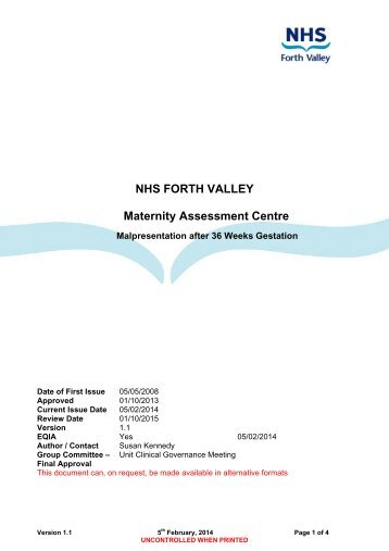 Malpresentation after 36 Weeks Gestation - NHS Forth Valley
