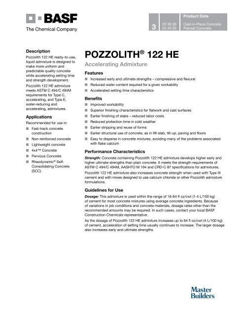 POZZOLITH® 122 HE - BASF Construction Chemicals