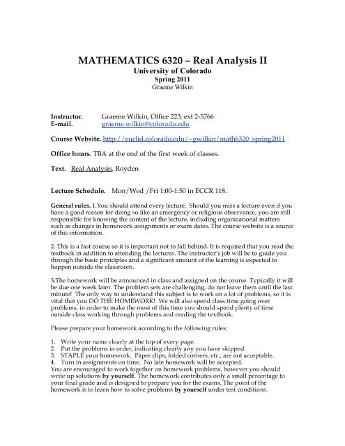 MATHEMATICS 6320 – Real Analysis II - University of Colorado