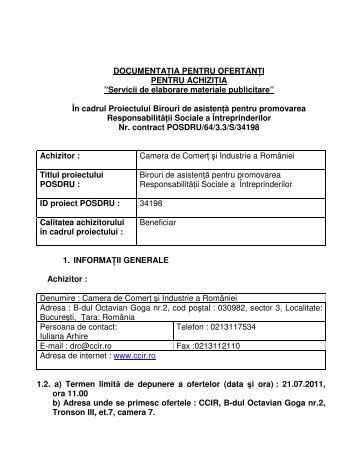 Documentaţie pentru ofertanţi - Camera de Comert si Industrie a ...