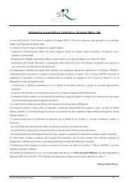 Informativa ai sensi dell'art. 13 del D.Lgs. 30 giugno 2003 n. 196. - Sir