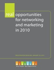real opportunities for networking and marketing in 2010 - Missouri ...