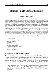 Bildung – nicht Standardisierung - mathematica didactica