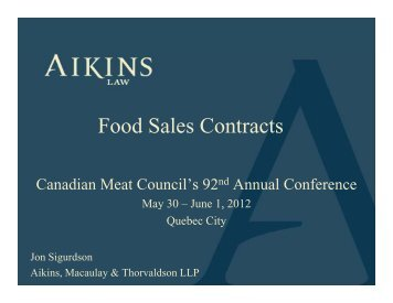 Food Sales Contracts - Canadian Meat Council