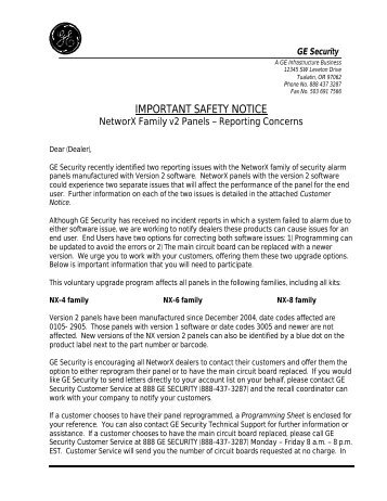 Letter to distributor from ge nxv2pdf utcfs global security letter to dealers and installers utcfs global security products spiritdancerdesigns Choice Image