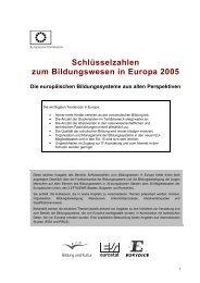 Schlüsselzahlen zum Bildungswesen in Europa 2005