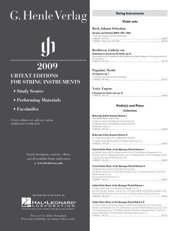 URTExT EDITIONS FOR STRING INSTRUMENTS - Hal Leonard