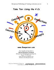 Take Ten: Using the 4 Cs - Sharon Bowman
