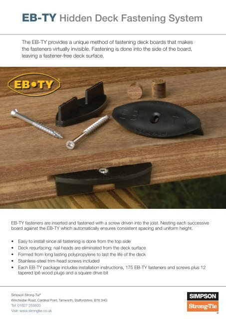 EB-TY Hidden Deck Fastening System - Simpson Strong-Tie