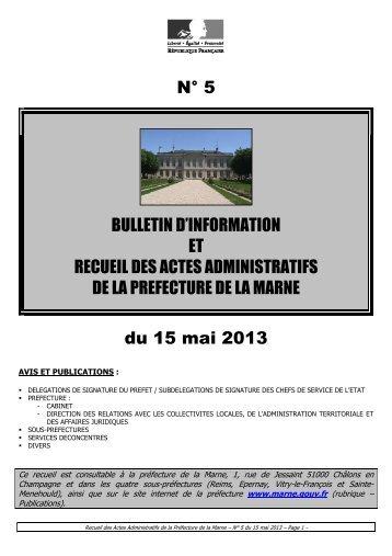 Recueil 5-2013 du 15 mai - 14,53 Mb - Préfecture de la Marne