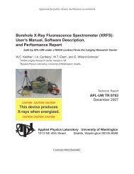 Borehole X-Ray Fluorescence Spectrometer (XRFS): User's Manual ...