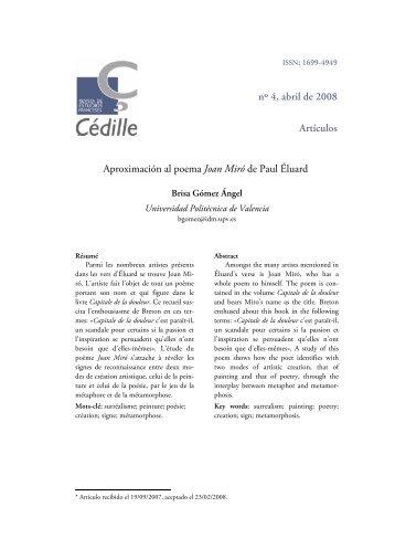 Aproximación al poema Joan Miró de Paul Éluard - Çédille. Revista ...