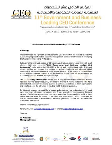 11th Leading CEO Conference Greetings, We ... - Datamatix