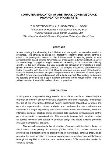 computer simulation of arbitrary, cohesive crack propagation ... - LMC