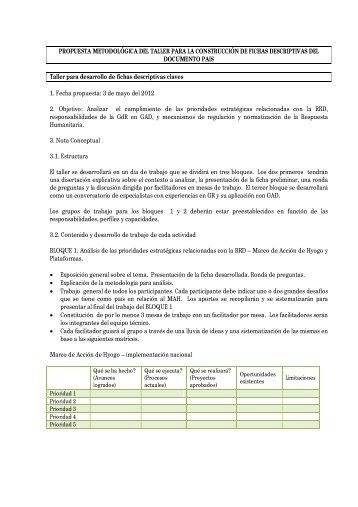 Propuesta Metodológica del Taller para la Construcción de Fichas ...