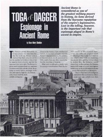 Toga & Dagger: Espionage in Ancient Rome