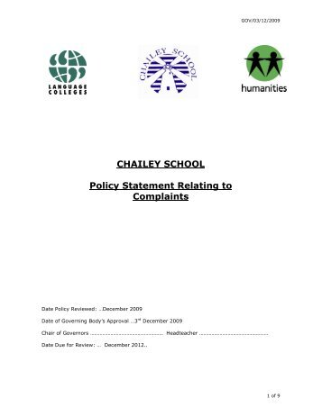 CHAILEY SCHOOL Policy Statement Relating to Complaints