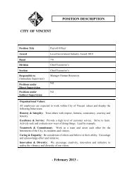 TOWN OF VINCENT - City of Vincent