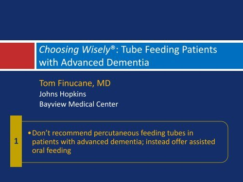 Don't Recommend Percutaneous Feeding Tubes In Patients With ...
