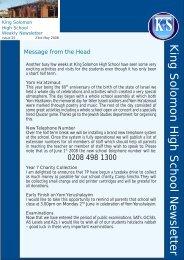 King Solomon High School Newsletter