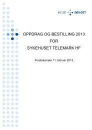 oppdrag og bestilling 2013 for sykehuset telemark hf - Helse Sør-Øst