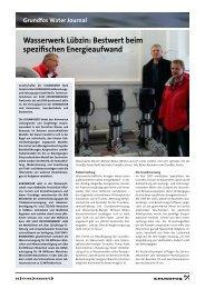 Wasserwerk Lübzin: Bestwert beim spezifischen Energieaufwand