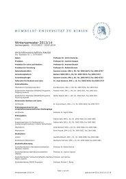 Unkommentiertes Vorlesungsverzeichnis WS 2013/14
