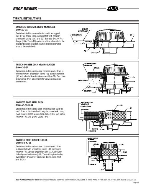 Roof Drain Engr Guide Sd14 Zurn