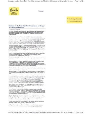 Euractiv 4 iulie 2008 - strategia nationala pentru dezvoltare durabila