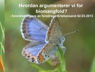 Hvordan argumenterer vi for biomangfold? - Sabima