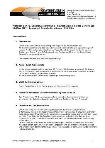 Protokoll der GV vom 19.03.07 - Gewerbeverein beider Gerlafingen