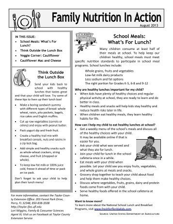 Family Nutrition In Action Newsletter - August 2013 - Taylor County ...