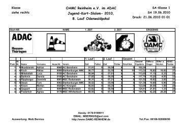OAMC Reinheim e.V. im ADAC Jugend-Kart-Slalom- 2010, 8. Lauf ...