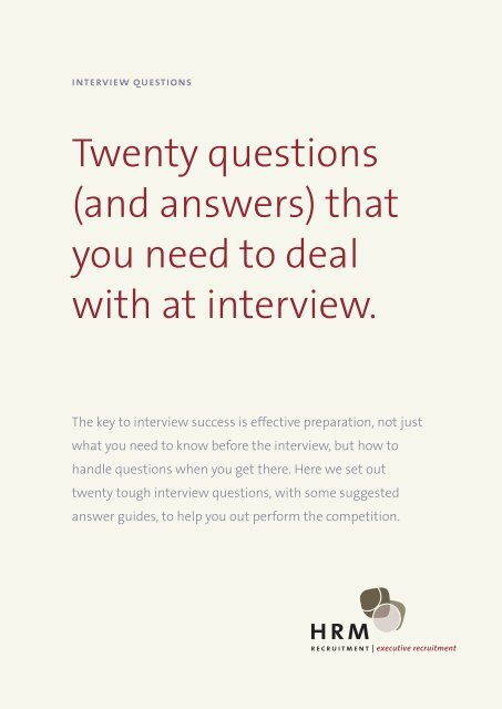 Tough Interview Questions - HRM Recruit
