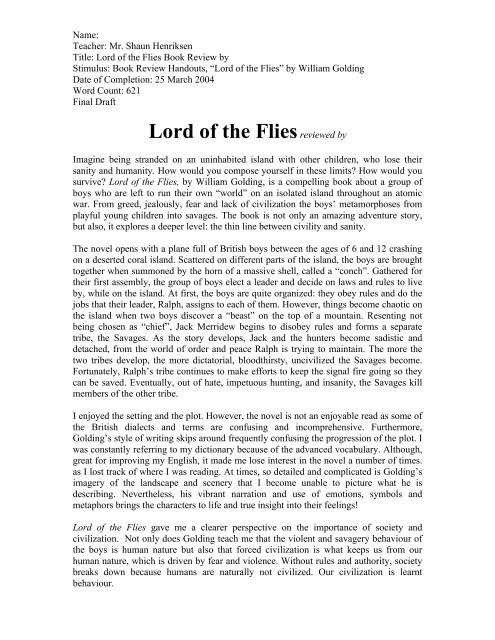 book report on lord of the flies